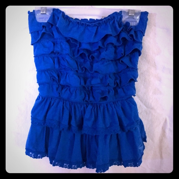 Abercrombie & Fitch Tops - ✨⚡️A&F ruffled tube top. ☀️Bright blue.✨⚡️